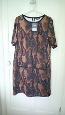 BNWT - Yours Clothing -  brown snake print tunic top, size 18, RRP £26.99
