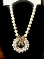 "Heidi Daus ""Cultured Christmas Wreath"" Beaded Crystal Drop Necklace -Gorgeous!!"