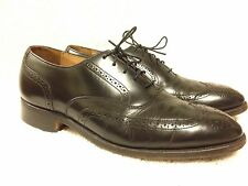 Johnston & Murphy Optima mens black wing tip shoes size 8 d/b Made in USA Nice!