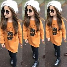 @2PCS oddler Kids Baby Girls Outfit Clothes T-shirt Tops+Long Pants Trousers&120