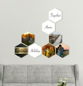 Personalised removable photo tiles. Custom photo collage wall 2 sizes - 7 shapes