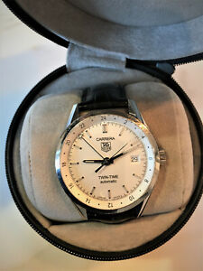 Tag Heuer Carrera Twin Time Auto 39mm Steel Mens Watch Date GMT Wv2116 New Leath