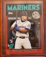 2021 TOPPS SERIES 1 Evan White 1986 TOPPS Red Parallel #04/10 MARINERS Rc