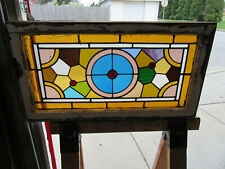 ~ ANTIQUE STAINED GLASS TRANSOM WINDOW ~ 33 x 18 ~ ARCHITECTURAL SALVAGE