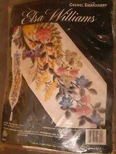 New listing Elsa Williams Floral Festive Bellpull Crewel Kit Michael A LeClair Linen Fabric