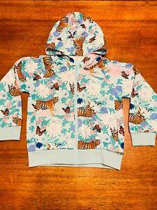 Bonds Digi Sweats Blue Green Pink Tiger Floral Jumper Hoodie Jacket GUC Size 6