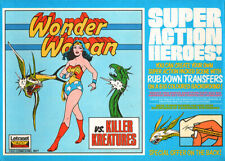 WONDER WOMAN UK LETRASET RUB-ON TRANSFER: VS KILLER KREATURES