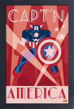 CAPTAIN AMERICA ART DECO 13x19 FRAMED GELCOAT POSTER MARVEL COMICS VINTAGE GIFT!