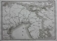 Original antique map ITALY, VENICE, TRESTE, Napoleonic Wars, Tardieu c.1824