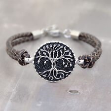 Tree of Life, Stainless Steel Braided Leather Bracelet