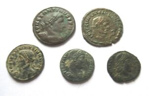 A lot of 5 x Ae-Follis , include Constantine I., Constans ect.