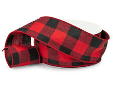"""2 1/2"""" RED AND BLACK BUFFALO PLAID CHECK WIRED RIBBON / 5 YARDS OFF THE ROLL"""