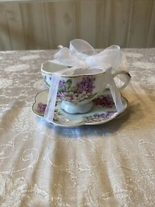 NEW Grace's Teaware Scalloped Purple Tea Cup & Saucer With Lilac & Pink Flowers