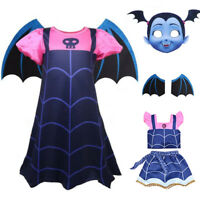 Kids Girls Vampirina Dress+ Wing + Headwaer Fancy Cosplay Party Outfit 2-9 Years
