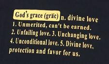 Religious Tee Shirt Blue M Heavy Cotton God's Grace New Graphic MEDIUM 642-323
