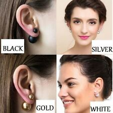 Hot New 4PC COMBO OFFER WHITE ,GOLD ,SILVER AND BLACK Double Side Pearl Earrings