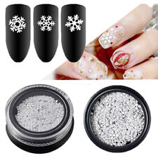 3D Xmas Nail DIY Art Tips Gillter White Snowflake Sequins Flakes Manicure Decor