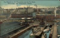 Seattle WA Fire Department & Fire Boats c1910 Postcard