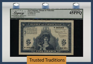 TT PK 48 ND (1944) NEW CALEDONIA 5 FRANCS SCARCE NOTE LCG 45 PPQ EXTREMELY FINE!