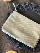 New Gold Cosmetic Bag Pleather Wristlet Pouch Tortoise Zippered Travel Makeup