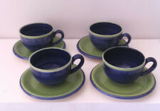 5x Jumbotassen und 4x Dessertteller Blau Grün Keramik 9-teilig