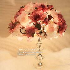 French Rose Flower Bedside Desk Table Lamp with Crystal Base Nice Decoration
