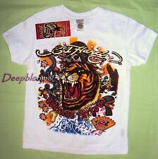 ED HARDY TOP SHIRT BOYS TIGER 4 5 WHITE GOLD NEW