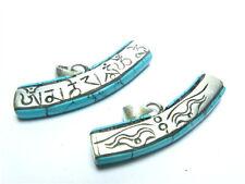Tibetan Turquoise Gemstone Inlay Carved Buddha Eye Mantra Om Mani Amulet Pendant