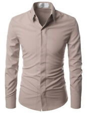 (nks650) THELEES Slim Stretchy Button Down Shirts