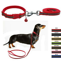 Reflective Nylon Small Dog Collar and Leash with Bell Multi Colors Small Medium