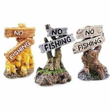x1 Mini No Fishing Sign Post Ornament for Aquarium Goldfish Bowl Biorb