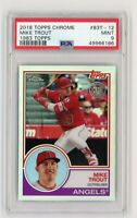 """2018 TOPPS CHROME MIKE TROUT REFRACTOR""""1983 TOPPS"""" #83T-12 ANGELS PSA 9 MINT"""