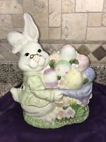 Easter Bunny Cookie Jar Rabbit White Ceramic with Easter Eggs Canister