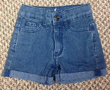 Girls Size 3-4 Years Stone Wash Denim Jeans Shorts Kids Blue Summer Pants