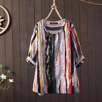 Belle Femme Chemise Shirt Col Rond imprimé Bande à Pois Manche bouffante Plus
