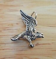 Sterling Silver 3D Small 18x17mm Eagle Hawk Bird Animal Charm