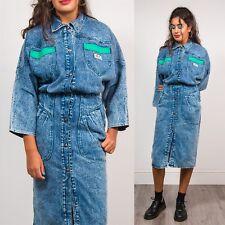 WOMENS VINTAGE 80'S BLUE ACID WASH DENIM SHIRT DRESS MIDI LENGTH GRUNGE BLUE 10