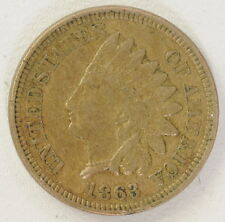 1863 Copper Indian Head 1 One Cent Coin