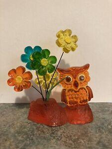 Vintage Lucite Owl And Flowers Figurine