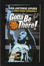Tim Duncan--2001-02 San Antonio Spurs Pocket Schedule--HEB