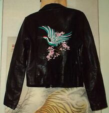 BNWT Black Embroidery Short Black Leather Pvc Look Jacket Size 10 to 12 Primark