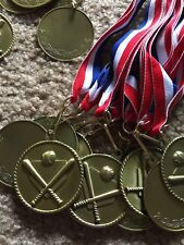 2 inch medal Baseball medals with red white and blue lanyard.