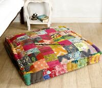 35'' Indian Vintage Patchwork Square Ottoman Floor Cushion Footstool Large Seat