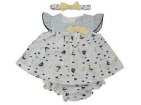 BNWT  Baby Girls navy white sailing ship summer dress outfit clothes NB 0-3 3-6m
