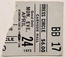 West Bruce And Lang 1972 Ticket Stub Carnegie Hall, Nyc Jack Bruce Leslie West