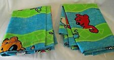 Jim Henson Big Blue Bear Curtains Drapes Panels Pair Window Vintage Fabric CRISP