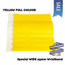 200 x Tyvek Wristbands, *SPECIAL* ID, Party Yellow Full Colour WIDE 25mm