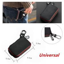 Universal Genuine Leather Car Key Chain Holder Zipper Case Remote Wallet Black