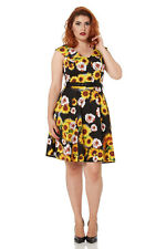 JAWBREAKER VOODOO VIXEN SUNFLOWER FLORAL VINTAGE STYLE 50'S DRESS WEDDING 10 12