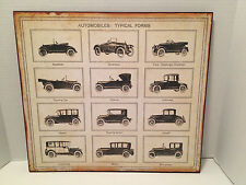 "Rustic Typical Primitive Forms Automobiles Cars Metal Wall Art 19"" x 17"" NEW"